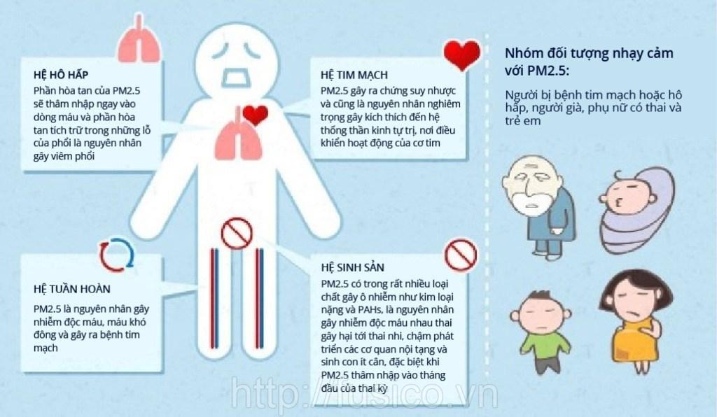 Ảnh hưởng bụi mịn đến sức khỏe con người