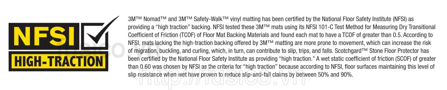 Chứng nhận NFSI Viện an toàn sàn Hoa Kỳ thảm chùi chân 3M