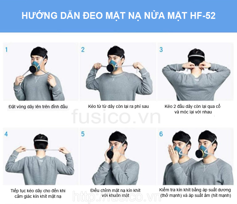 Hướng dẫn đeo mặt nạ phòng độc nửa mặt 3M HF 52