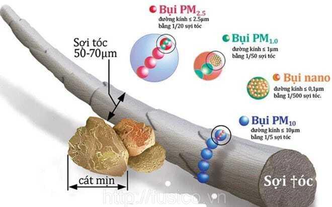 Kích thước bụi mịn pm2.5 dưới kính hiển vi