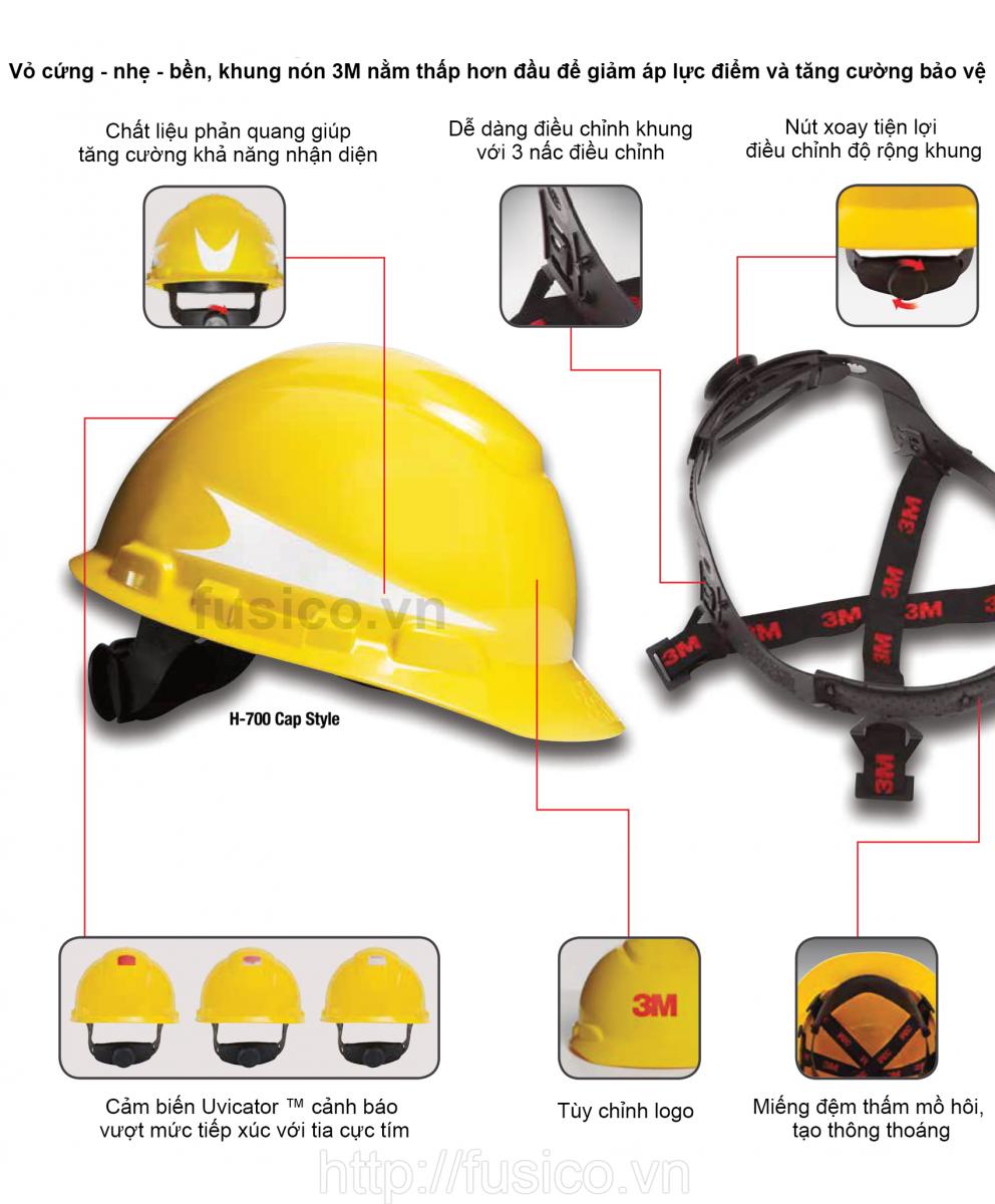 Mũ nón bảo hộ lao động 3m 700
