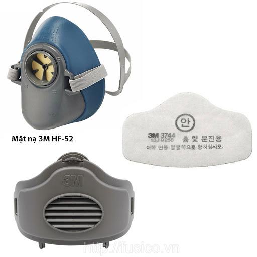 Tấm lọc bụi 3M 3744K kết hợp với mặt nạ nửa mặt 3M HF52 và nắp giữ phin lọc 3M 3700