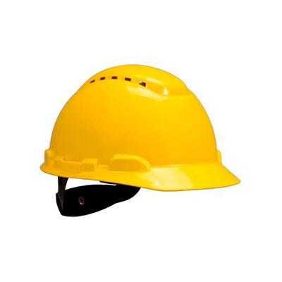 Mũ bảo hộ 3M H-702V màu vàng có lỗ thông khí, giảm chấn dạng nút vặn 4 điểm nối